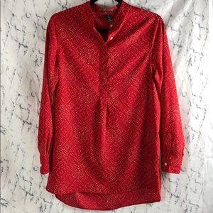 Ralph Lauren Red Partial Button Up Blouse / Top